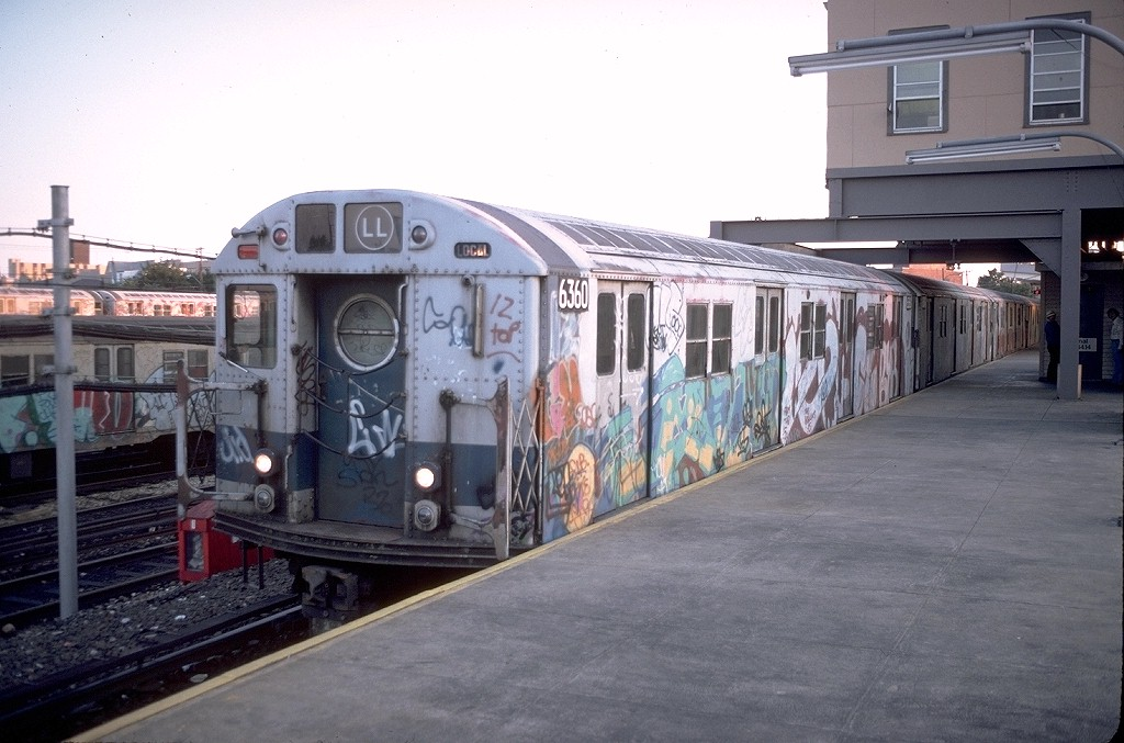 (179k, 1024x677)<br><b>Country:</b> United States<br><b>City:</b> New York<br><b>System:</b> New York City Transit<br><b>Line:</b> BMT Canarsie Line<br><b>Location:</b> Rockaway Parkway <br><b>Route:</b> LL<br><b>Car:</b> R-16 (American Car & Foundry, 1955) 6360 <br><b>Photo by:</b> Doug Grotjahn<br><b>Collection of:</b> Joe Testagrose<br><b>Date:</b> 9/12/1979<br><b>Viewed (this week/total):</b> 12 / 9303
