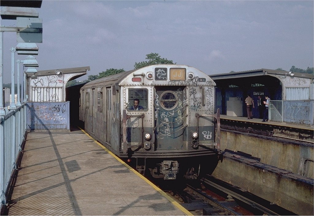 (218k, 1024x703)<br><b>Country:</b> United States<br><b>City:</b> New York<br><b>System:</b> New York City Transit<br><b>Line:</b> BMT Nassau Street/Jamaica Line<br><b>Location:</b> 75th Street/Elderts Lane <br><b>Route:</b> J<br><b>Car:</b> R-16 (American Car & Foundry, 1955) 6361 <br><b>Photo by:</b> Steve Zabel<br><b>Collection of:</b> Joe Testagrose<br><b>Date:</b> 9/3/1982<br><b>Viewed (this week/total):</b> 4 / 6453