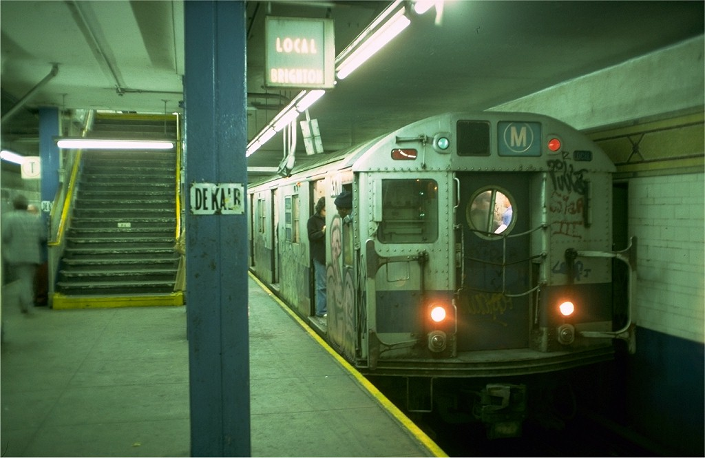 (143k, 1024x665)<br><b>Country:</b> United States<br><b>City:</b> New York<br><b>System:</b> New York City Transit<br><b>Location:</b> DeKalb Avenue<br><b>Route:</b> M<br><b>Car:</b> R-16 (American Car & Foundry, 1955) 6371 <br><b>Photo by:</b> Doug Grotjahn<br><b>Collection of:</b> Joe Testagrose<br><b>Date:</b> 10/5/1976<br><b>Viewed (this week/total):</b> 0 / 5434