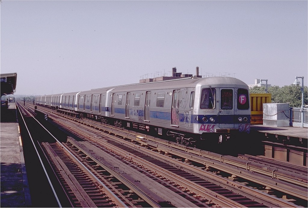 (218k, 1024x693)<br><b>Country:</b> United States<br><b>City:</b> New York<br><b>System:</b> New York City Transit<br><b>Line:</b> BMT Culver Line<br><b>Location:</b> Avenue P <br><b>Route:</b> F<br><b>Car:</b> R-46 (Pullman-Standard, 1974-75) 628 <br><b>Photo by:</b> Joe Testagrose<br><b>Date:</b> 7/4/1980<br><b>Viewed (this week/total):</b> 3 / 3665