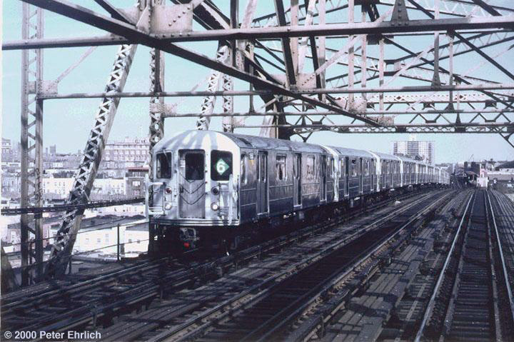 (159k, 720x479)<br><b>Country:</b> United States<br><b>City:</b> New York<br><b>System:</b> New York City Transit<br><b>Line:</b> IRT Pelham Line<br><b>Location:</b> Bronx River Bridge <br><b>Route:</b> 6<br><b>Car:</b> R-62A (Bombardier, 1984-1987)  1850 <br><b>Photo by:</b> Peter Ehrlich<br><b>Date:</b> 3/30/1988<br><b>Viewed (this week/total):</b> 2 / 4956