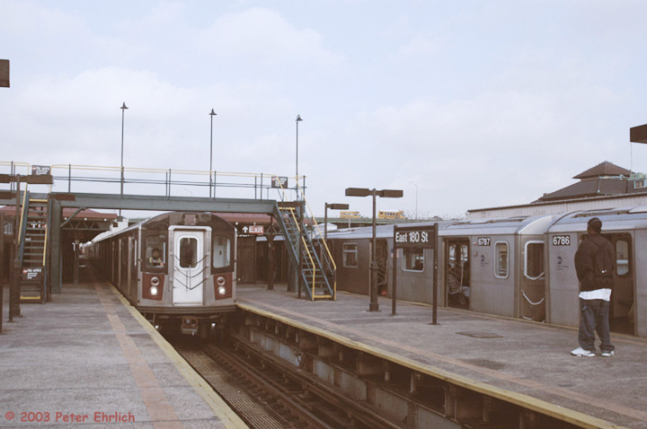 (101k, 720x478)<br><b>Country:</b> United States<br><b>City:</b> New York<br><b>System:</b> New York City Transit<br><b>Line:</b> IRT White Plains Road Line<br><b>Location:</b> East 180th Street <br><b>Car:</b> R-142 (Primary Order, Bombardier, 1999-2002)  6605 <br><b>Photo by:</b> Peter Ehrlich<br><b>Date:</b> 3/5/2003<br><b>Viewed (this week/total):</b> 2 / 4732
