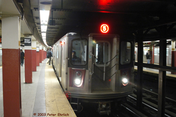 (109k, 720x478)<br><b>Country:</b> United States<br><b>City:</b> New York<br><b>System:</b> New York City Transit<br><b>Line:</b> IRT East Side Line<br><b>Location:</b> Brooklyn Bridge/City Hall <br><b>Route:</b> 5<br><b>Car:</b> R-142 (Primary Order, Bombardier, 1999-2002)  6716 <br><b>Photo by:</b> Peter Ehrlich<br><b>Date:</b> 3/4/2003<br><b>Viewed (this week/total):</b> 9 / 10017
