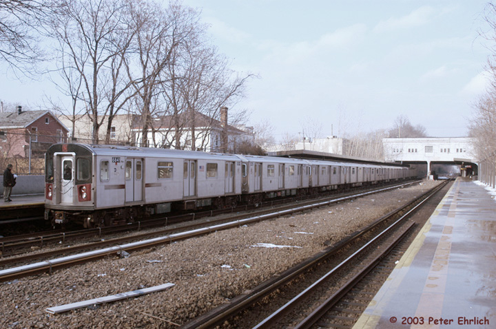 (166k, 720x478)<br><b>Country:</b> United States<br><b>City:</b> New York<br><b>System:</b> New York City Transit<br><b>Line:</b> IRT Dyre Ave. Line<br><b>Location:</b> Gun Hill Road <br><b>Route:</b> 5<br><b>Car:</b> R-142 (Primary Order, Bombardier, 1999-2002)  6841 <br><b>Photo by:</b> Peter Ehrlich<br><b>Date:</b> 3/5/2003<br><b>Viewed (this week/total):</b> 4 / 5103
