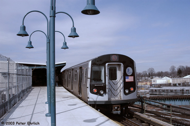(119k, 720x478)<br><b>Country:</b> United States<br><b>City:</b> New York<br><b>System:</b> New York City Transit<br><b>Line:</b> BMT Canarsie Line<br><b>Location:</b> Broadway Junction <br><b>Route:</b> L<br><b>Car:</b> R-143 (Kawasaki, 2001-2002) 8172 <br><b>Photo by:</b> Peter Ehrlich<br><b>Date:</b> 3/4/2003<br><b>Viewed (this week/total):</b> 1 / 3855