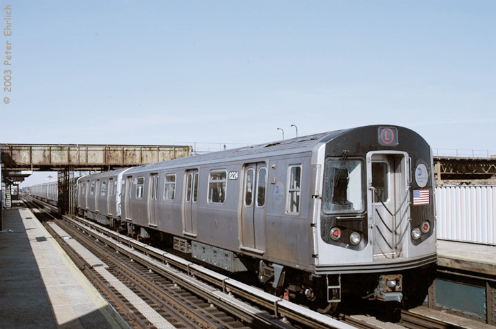 (123k, 720x478)<br><b>Country:</b> United States<br><b>City:</b> New York<br><b>System:</b> New York City Transit<br><b>Line:</b> BMT Canarsie Line<br><b>Location:</b> Livonia Avenue <br><b>Route:</b> L<br><b>Car:</b> R-143 (Kawasaki, 2001-2002) 8224 <br><b>Photo by:</b> Peter Ehrlich<br><b>Date:</b> 3/4/2003<br><b>Viewed (this week/total):</b> 3 / 3834