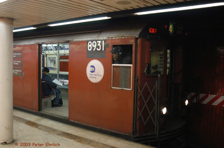 (105k, 720x478)<br><b>Country:</b> United States<br><b>City:</b> New York<br><b>System:</b> New York City Transit<br><b>Line:</b> IRT East Side Line<br><b>Location:</b> Bowling Green <br><b>Route:</b> 4<br><b>Car:</b> R-33 Main Line (St. Louis, 1962-63) 8931 <br><b>Photo by:</b> Peter Ehrlich<br><b>Date:</b> 3/4/2003<br><b>Viewed (this week/total):</b> 5 / 6592