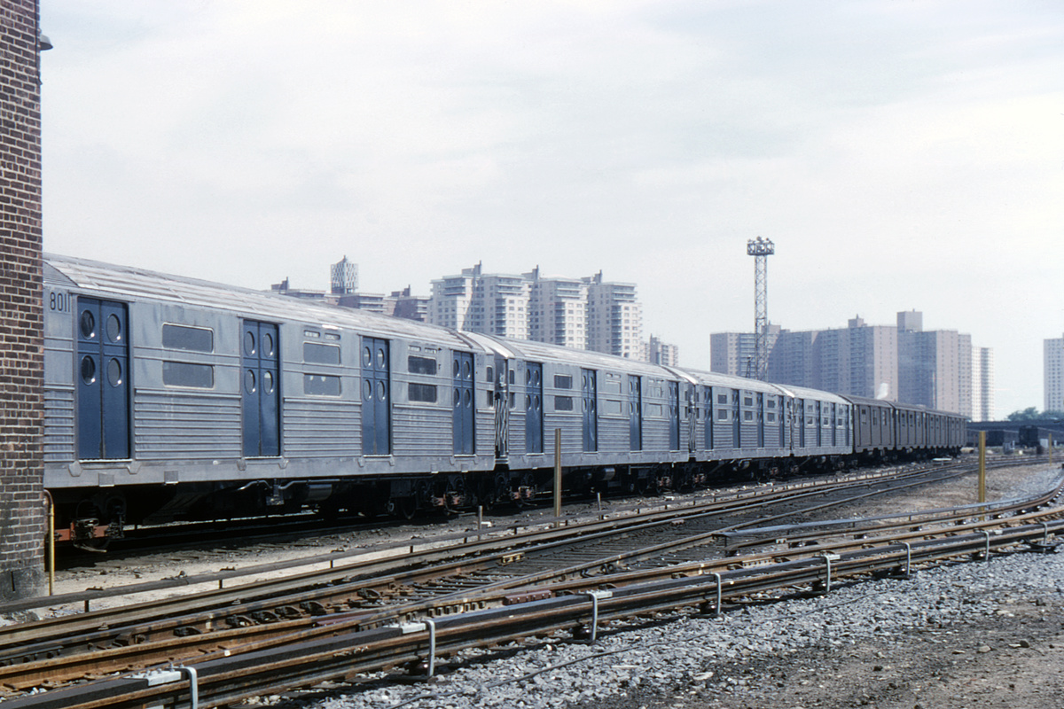 (403k, 1044x730)<br><b>Country:</b> United States<br><b>City:</b> New York<br><b>System:</b> New York City Transit<br><b>Location:</b> Coney Island Yard<br><b>Route:</b> A<br><b>Car:</b> R-11 (Budd, 1949) 8011 <br><b>Collection of:</b> David Pirmann<br><b>Date:</b> 6/20/1965<br><b>Viewed (this week/total):</b> 5 / 4171