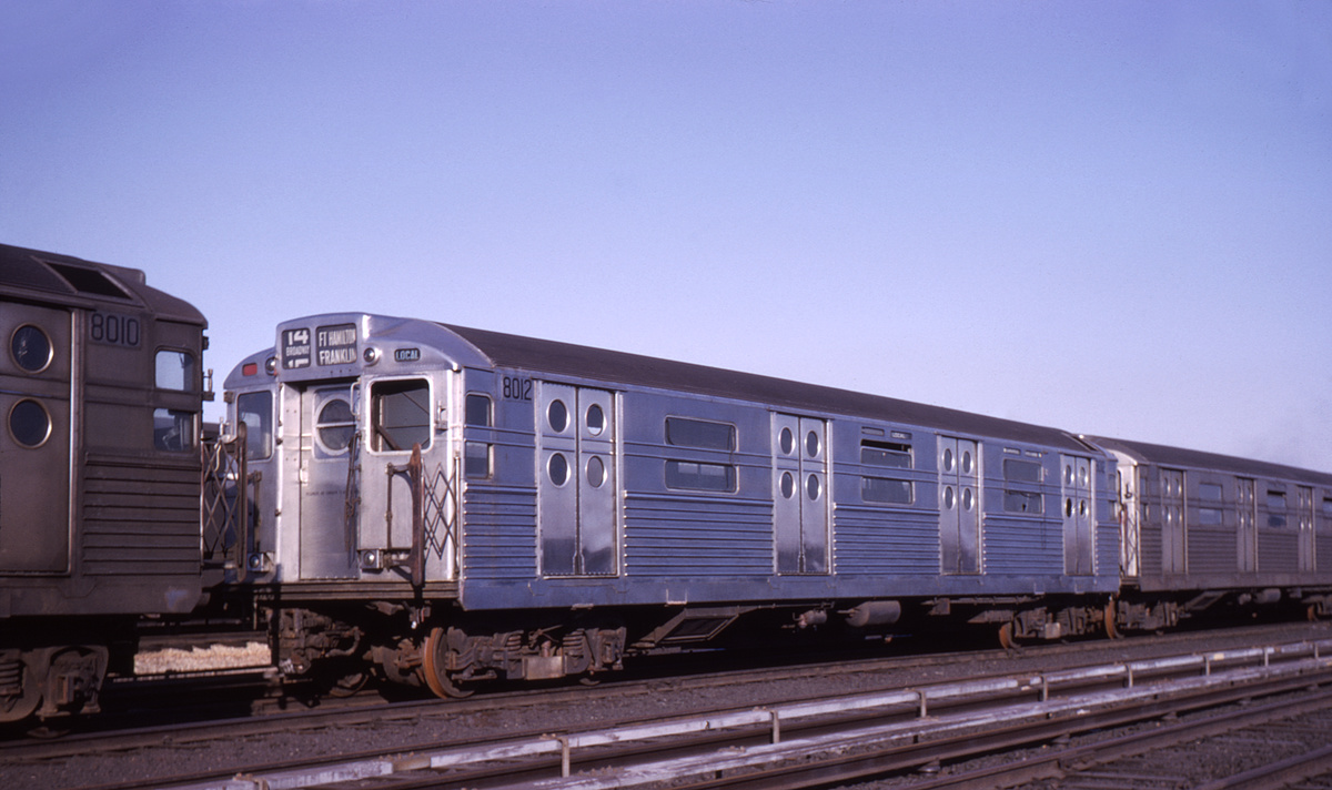 (351k, 1044x674)<br><b>Country:</b> United States<br><b>City:</b> New York<br><b>System:</b> New York City Transit<br><b>Location:</b> Coney Island Yard<br><b>Car:</b> R-11 (Budd, 1949) 8012 <br><b>Collection of:</b> David Pirmann<br><b>Date:</b> 2/9/1963<br><b>Viewed (this week/total):</b> 11 / 3586