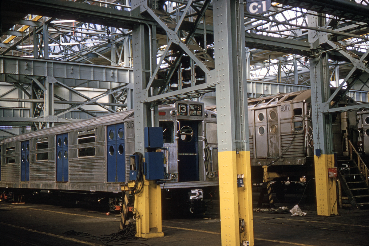 (441k, 1044x712)<br><b>Country:</b> United States<br><b>City:</b> New York<br><b>System:</b> New York City Transit<br><b>Location:</b> Coney Island Shop/Overhaul & Repair Shop<br><b>Car:</b> R-11 (Budd, 1949) 8015 <br><b>Collection of:</b> David Pirmann<br><b>Date:</b> 3/13/1965<br><b>Viewed (this week/total):</b> 0 / 2036