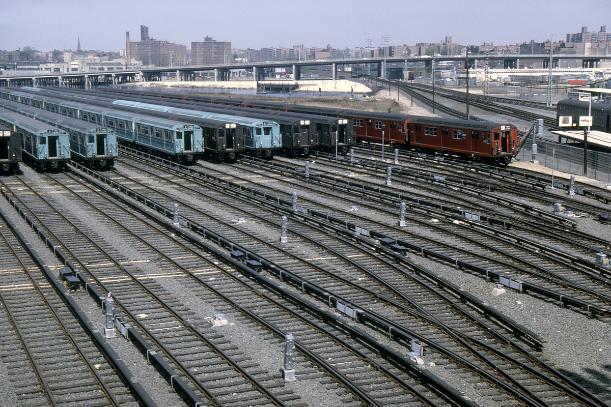 (645k, 1044x714)<br><b>Country:</b> United States<br><b>City:</b> New York<br><b>System:</b> New York City Transit<br><b>Location:</b> Corona Yard<br><b>Collection of:</b> David Pirmann<br><b>Date:</b> 5/2/1964<br><b>Viewed (this week/total):</b> 0 / 2611
