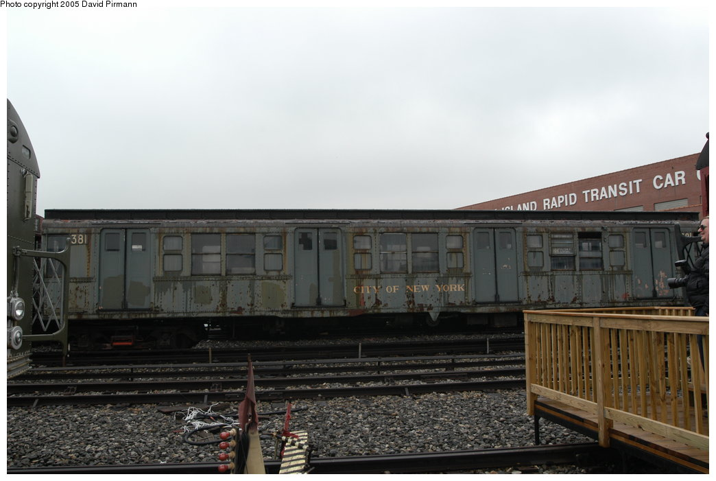 (165k, 1044x701)<br><b>Country:</b> United States<br><b>City:</b> New York<br><b>System:</b> New York City Transit<br><b>Location:</b> Coney Island Yard-Museum Yard<br><b>Car:</b> R-1 (American Car & Foundry, 1930-1931) 381 <br><b>Photo by:</b> David Pirmann<br><b>Date:</b> 4/5/2003<br><b>Viewed (this week/total):</b> 4 / 5493