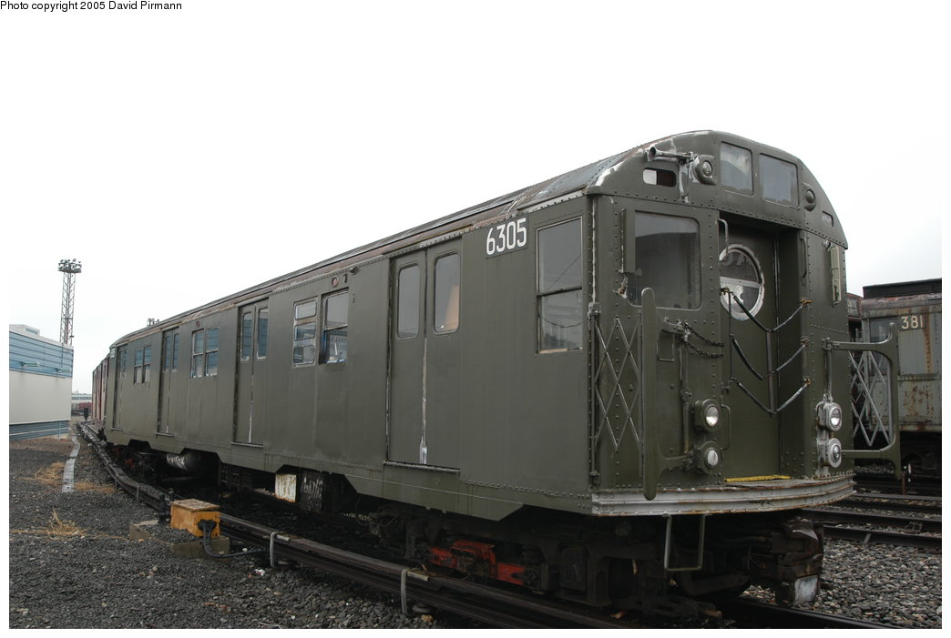 (148k, 1044x701)<br><b>Country:</b> United States<br><b>City:</b> New York<br><b>System:</b> New York City Transit<br><b>Location:</b> Coney Island Yard-Museum Yard<br><b>Car:</b> R-16 (American Car & Foundry, 1955) 6305 <br><b>Photo by:</b> David Pirmann<br><b>Date:</b> 4/5/2003<br><b>Viewed (this week/total):</b> 5 / 10785