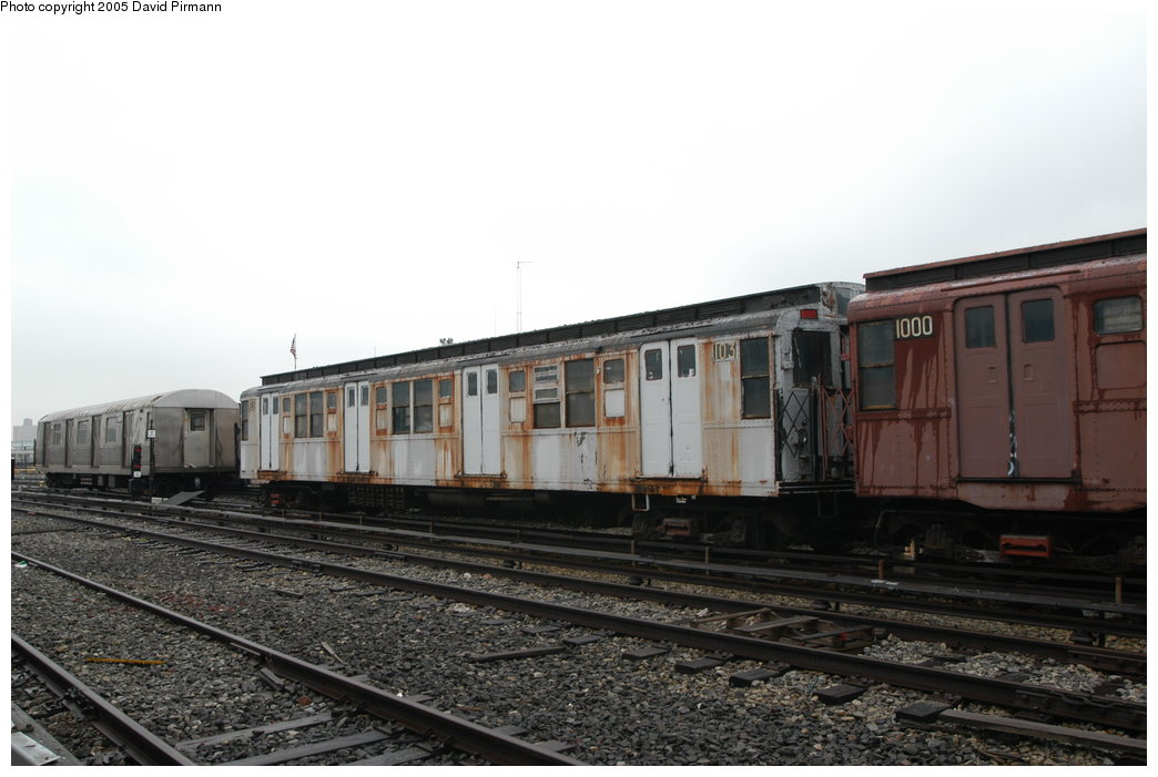 (170k, 1044x701)<br><b>Country:</b> United States<br><b>City:</b> New York<br><b>System:</b> New York City Transit<br><b>Location:</b> Coney Island Yard-Museum Yard<br><b>Car:</b> R-1 (American Car & Foundry, 1930-1931) 103 <br><b>Photo by:</b> David Pirmann<br><b>Date:</b> 4/5/2003<br><b>Viewed (this week/total):</b> 3 / 9838