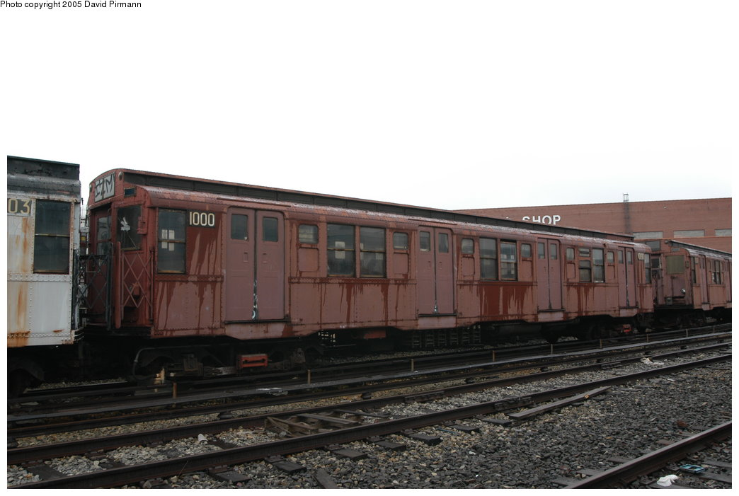 (162k, 1044x701)<br><b>Country:</b> United States<br><b>City:</b> New York<br><b>System:</b> New York City Transit<br><b>Location:</b> Coney Island Yard-Museum Yard<br><b>Car:</b> R-6-3 (American Car & Foundry, 1935)  1000 <br><b>Photo by:</b> David Pirmann<br><b>Date:</b> 4/5/2003<br><b>Viewed (this week/total):</b> 0 / 7585