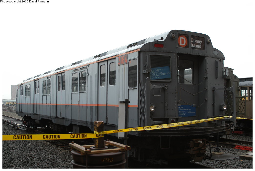 (155k, 1044x701)<br><b>Country:</b> United States<br><b>City:</b> New York<br><b>System:</b> New York City Transit<br><b>Location:</b> Coney Island Yard-Museum Yard<br><b>Car:</b> R-10 (American Car & Foundry, 1948) 3184 <br><b>Photo by:</b> David Pirmann<br><b>Date:</b> 4/5/2003<br><b>Viewed (this week/total):</b> 11 / 10413