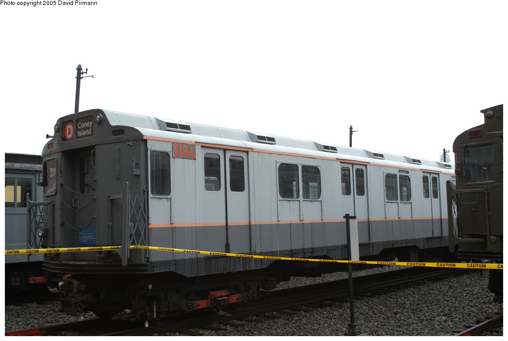 (136k, 1044x701)<br><b>Country:</b> United States<br><b>City:</b> New York<br><b>System:</b> New York City Transit<br><b>Location:</b> Coney Island Yard-Museum Yard<br><b>Car:</b> R-10 (American Car & Foundry, 1948) 3184 <br><b>Photo by:</b> David Pirmann<br><b>Date:</b> 4/5/2003<br><b>Viewed (this week/total):</b> 1 / 3134