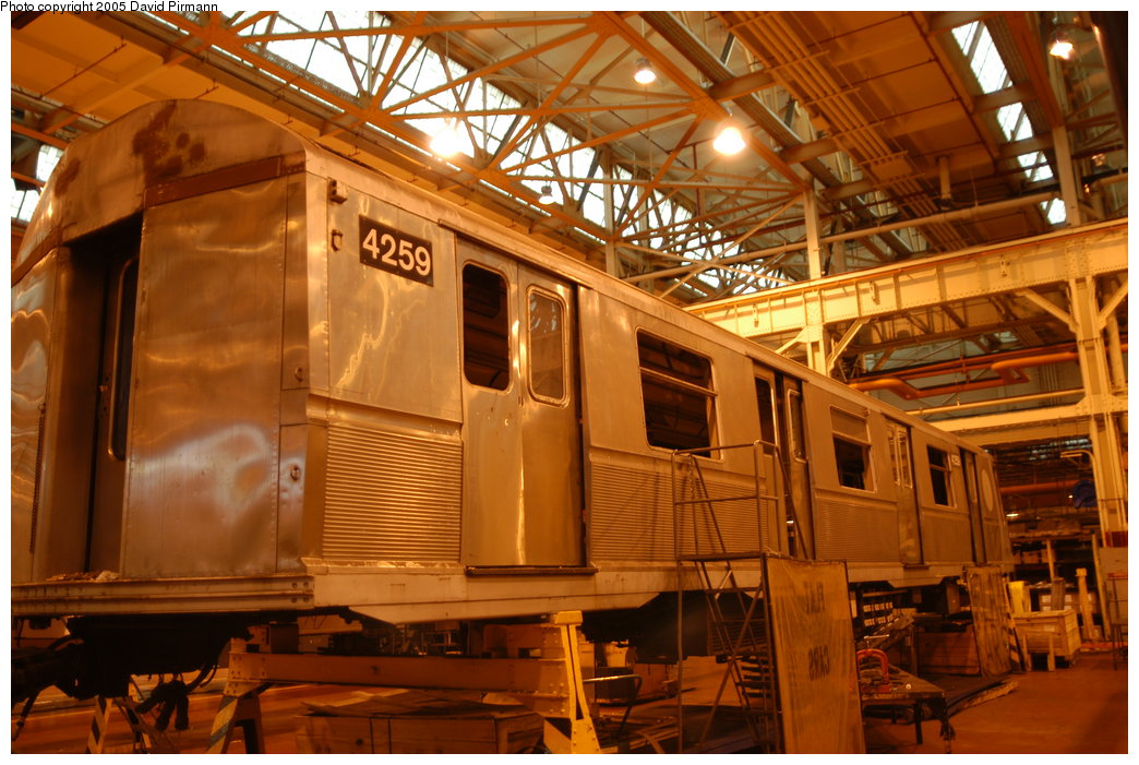(220k, 1044x701)<br><b>Country:</b> United States<br><b>City:</b> New York<br><b>System:</b> New York City Transit<br><b>Location:</b> Coney Island Shop/Overhaul & Repair Shop<br><b>Car:</b> R-40 (St. Louis, 1968)  4259 <br><b>Photo by:</b> David Pirmann<br><b>Date:</b> 4/5/2003<br><b>Viewed (this week/total):</b> 0 / 3159