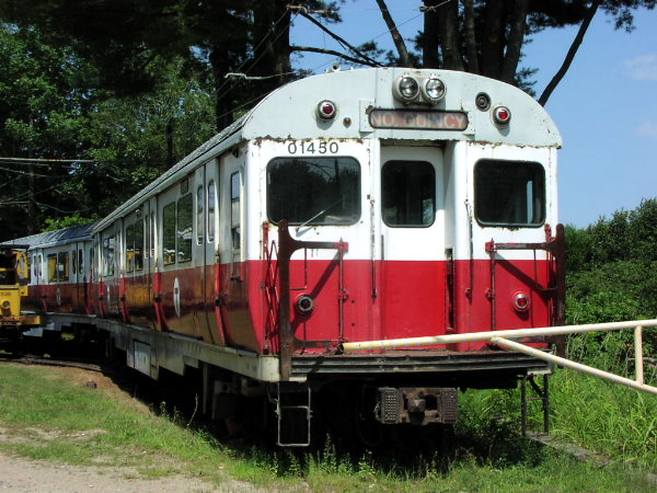 (94k, 600x450)<br><b>Country:</b> United States<br><b>City:</b> Kennebunk, ME<br><b>System:</b> Seashore Trolley Museum <br><b>Car:</b> MBTA 01400 Series (Pullman-Standard, 1963)  01450 <br><b>Photo by:</b> Trevor Logan<br><b>Date:</b> 8/21/2001<br><b>Viewed (this week/total):</b> 2 / 2106