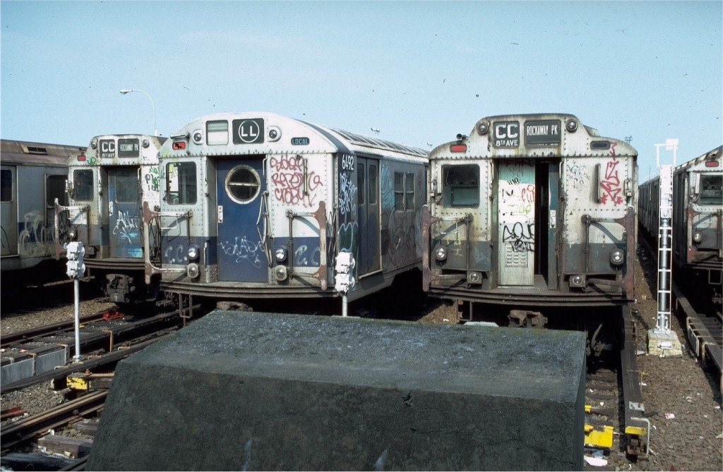 (204k, 1024x669)<br><b>Country:</b> United States<br><b>City:</b> New York<br><b>System:</b> New York City Transit<br><b>Location:</b> Rockaway Park Yard<br><b>Car:</b> R-16 (American Car & Foundry, 1955) 6492 <br><b>Photo by:</b> Doug Grotjahn<br><b>Collection of:</b> Joe Testagrose<br><b>Date:</b> 8/25/1979<br><b>Viewed (this week/total):</b> 1 / 4599