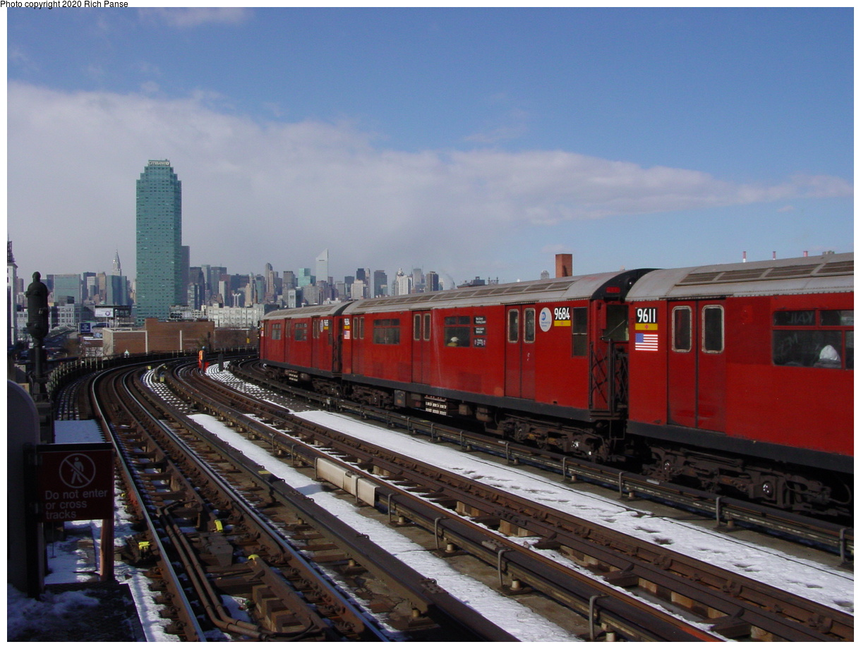 (72k, 820x620)<br><b>Country:</b> United States<br><b>City:</b> New York<br><b>System:</b> New York City Transit<br><b>Line:</b> IRT Flushing Line<br><b>Location:</b> 33rd Street/Rawson Street <br><b>Route:</b> 7<br><b>Car:</b> R-36 World's Fair (St. Louis, 1963-64) 9684-9611 <br><b>Photo by:</b> Richard Panse<br><b>Date:</b> 2/12/2003<br><b>Viewed (this week/total):</b> 0 / 2940