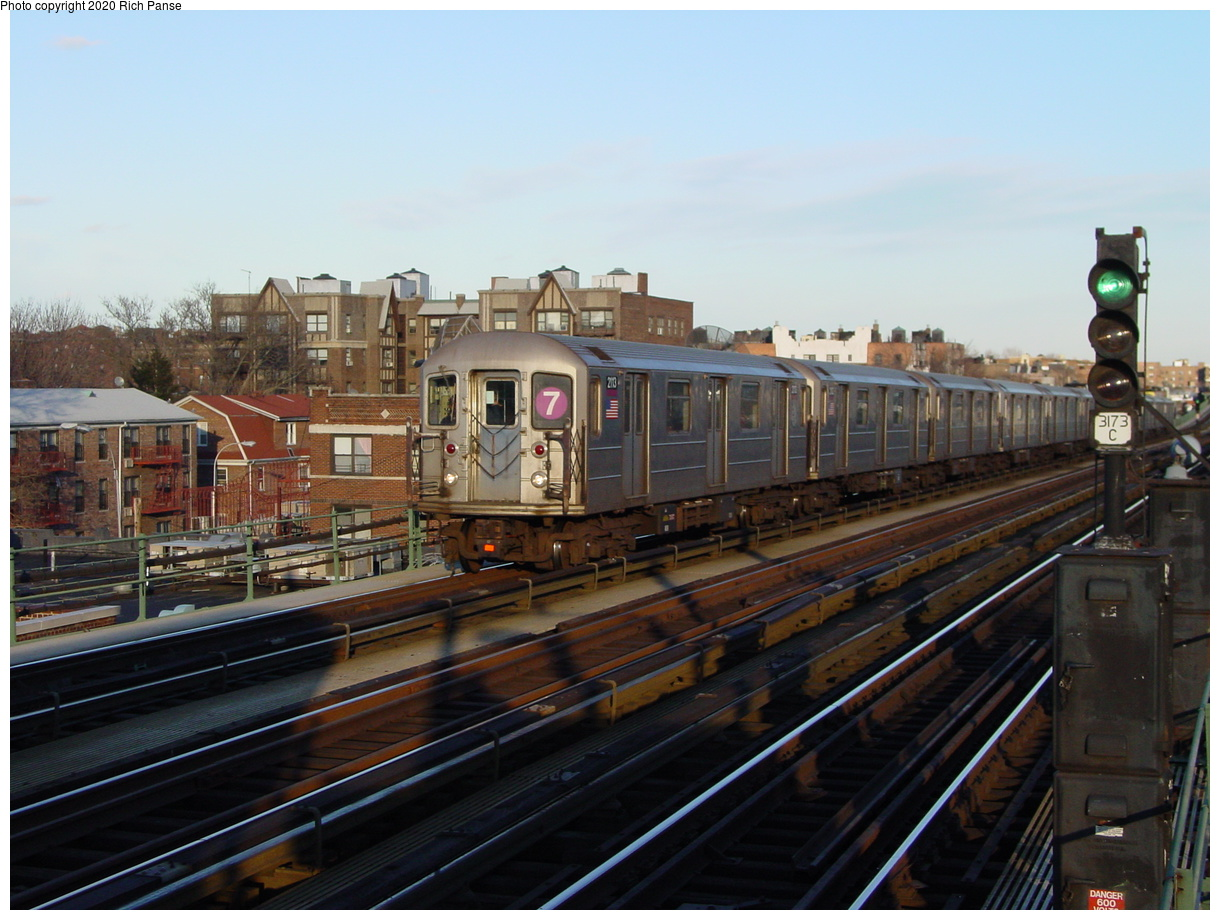 (75k, 820x620)<br><b>Country:</b> United States<br><b>City:</b> New York<br><b>System:</b> New York City Transit<br><b>Line:</b> IRT Flushing Line<br><b>Location:</b> 74th Street/Broadway <br><b>Route:</b> 7<br><b>Car:</b> R-62A (Bombardier, 1984-1987)  2113 <br><b>Photo by:</b> Richard Panse<br><b>Date:</b> 2/5/2003<br><b>Viewed (this week/total):</b> 1 / 3237