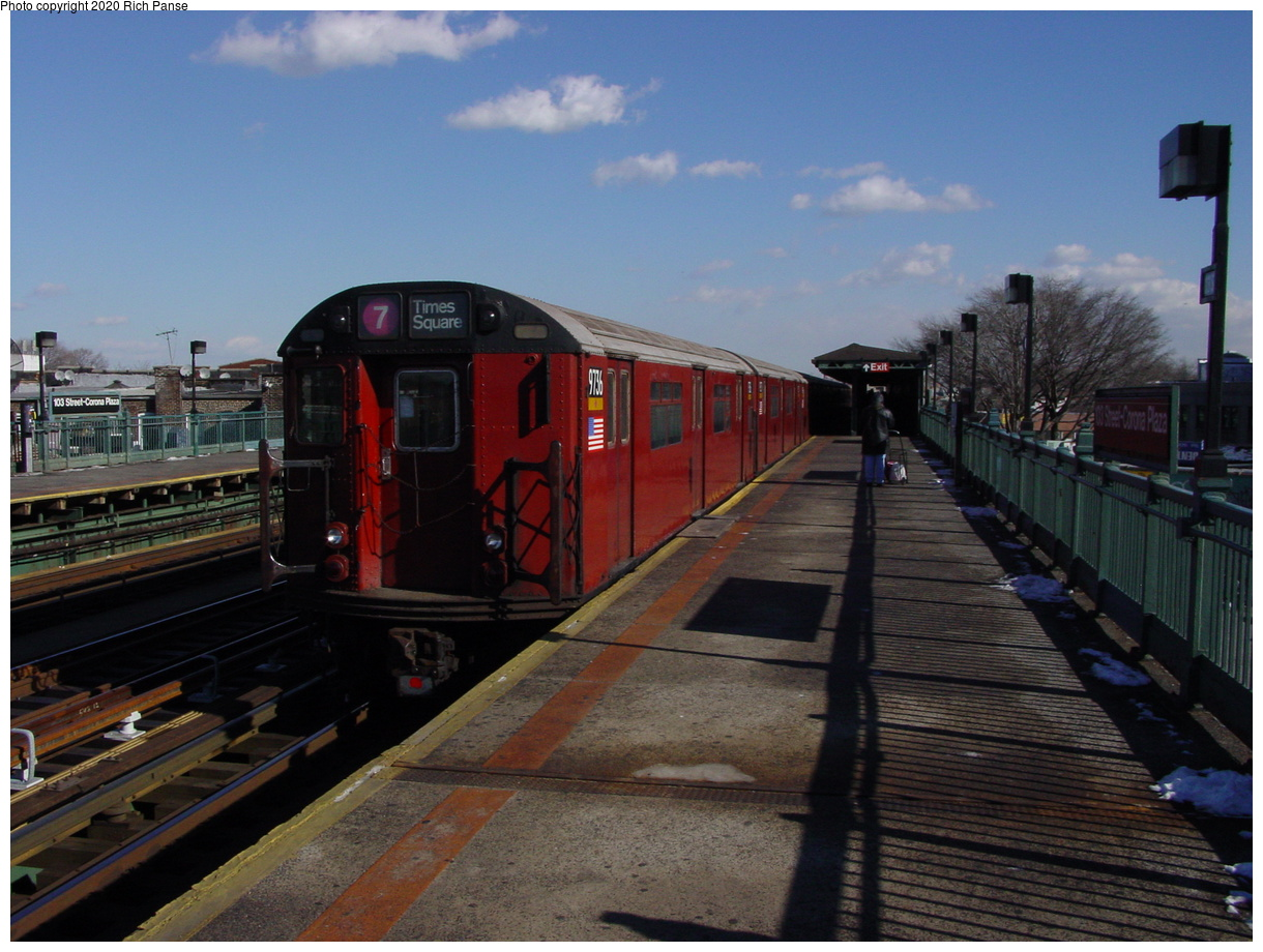 (71k, 820x620)<br><b>Country:</b> United States<br><b>City:</b> New York<br><b>System:</b> New York City Transit<br><b>Line:</b> IRT Flushing Line<br><b>Location:</b> 103rd Street/Corona Plaza <br><b>Route:</b> 7<br><b>Car:</b> R-36 World's Fair (St. Louis, 1963-64) 9736 <br><b>Photo by:</b> Richard Panse<br><b>Date:</b> 1/20/2003<br><b>Viewed (this week/total):</b> 2 / 2944