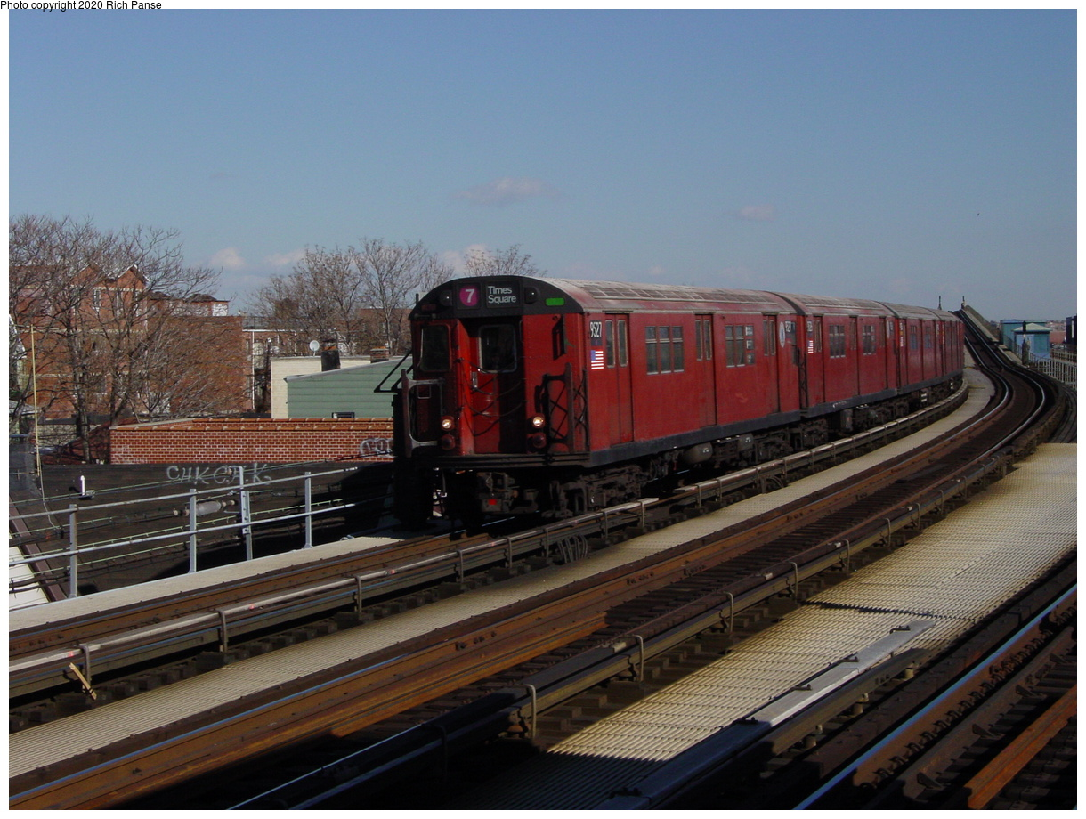 (76k, 820x620)<br><b>Country:</b> United States<br><b>City:</b> New York<br><b>System:</b> New York City Transit<br><b>Line:</b> IRT Flushing Line<br><b>Location:</b> 103rd Street/Corona Plaza <br><b>Route:</b> 7<br><b>Car:</b> R-36 Main Line (St. Louis, 1964) 9527 <br><b>Photo by:</b> Richard Panse<br><b>Date:</b> 1/20/2003<br><b>Viewed (this week/total):</b> 1 / 4090