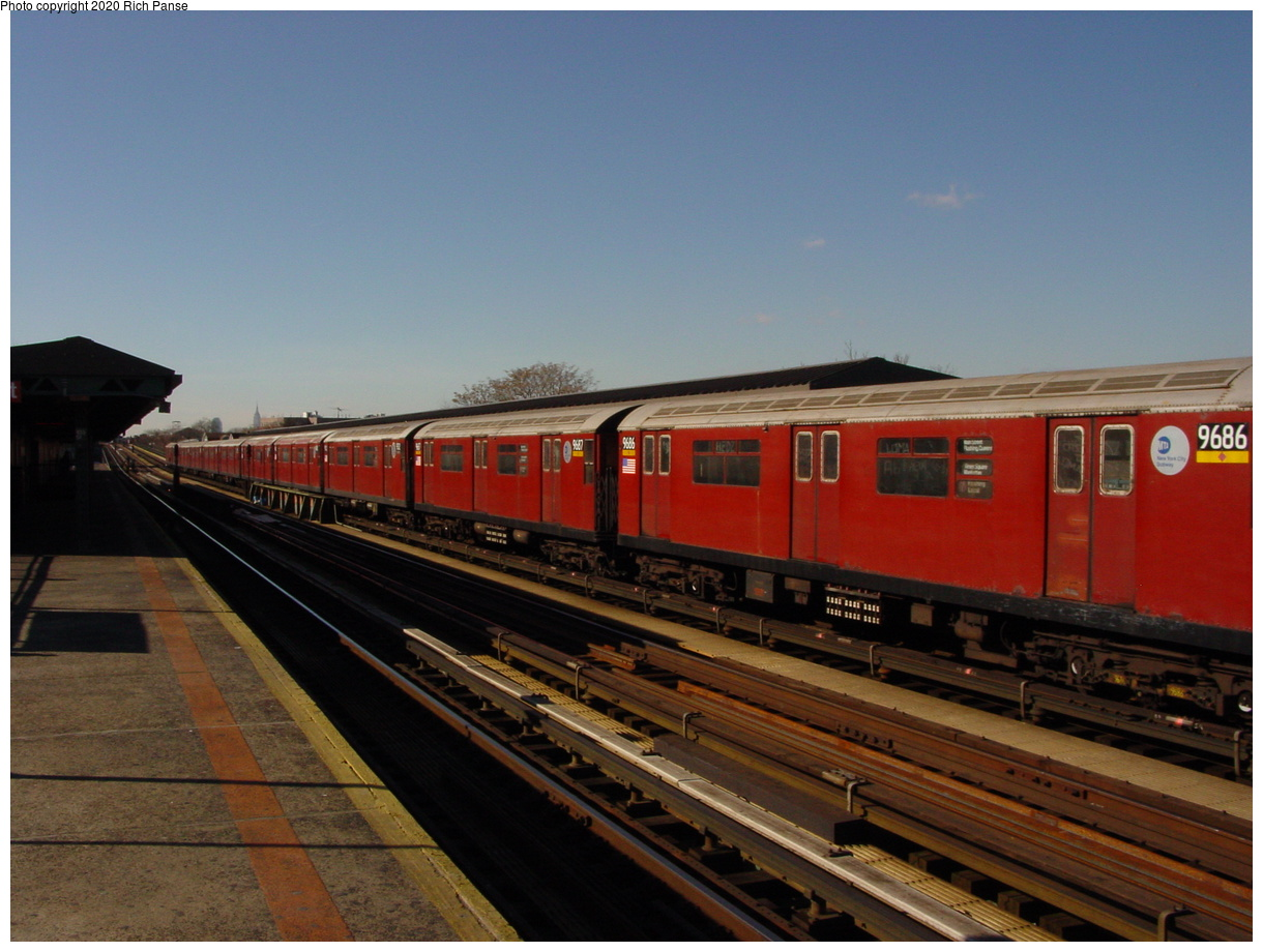 (64k, 820x620)<br><b>Country:</b> United States<br><b>City:</b> New York<br><b>System:</b> New York City Transit<br><b>Line:</b> IRT Flushing Line<br><b>Location:</b> 103rd Street/Corona Plaza <br><b>Route:</b> 7<br><b>Car:</b> R-36 World's Fair (St. Louis, 1963-64) 9686 <br><b>Photo by:</b> Richard Panse<br><b>Date:</b> 1/20/2003<br><b>Viewed (this week/total):</b> 2 / 2165