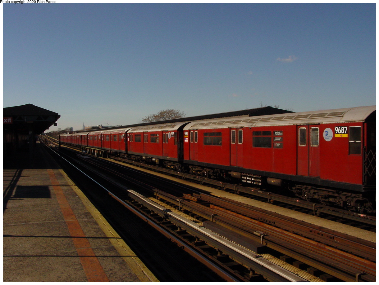 (62k, 820x620)<br><b>Country:</b> United States<br><b>City:</b> New York<br><b>System:</b> New York City Transit<br><b>Line:</b> IRT Flushing Line<br><b>Location:</b> 103rd Street/Corona Plaza <br><b>Route:</b> 7<br><b>Car:</b> R-36 World's Fair (St. Louis, 1963-64) 9687 <br><b>Photo by:</b> Richard Panse<br><b>Date:</b> 1/20/2003<br><b>Viewed (this week/total):</b> 3 / 2890