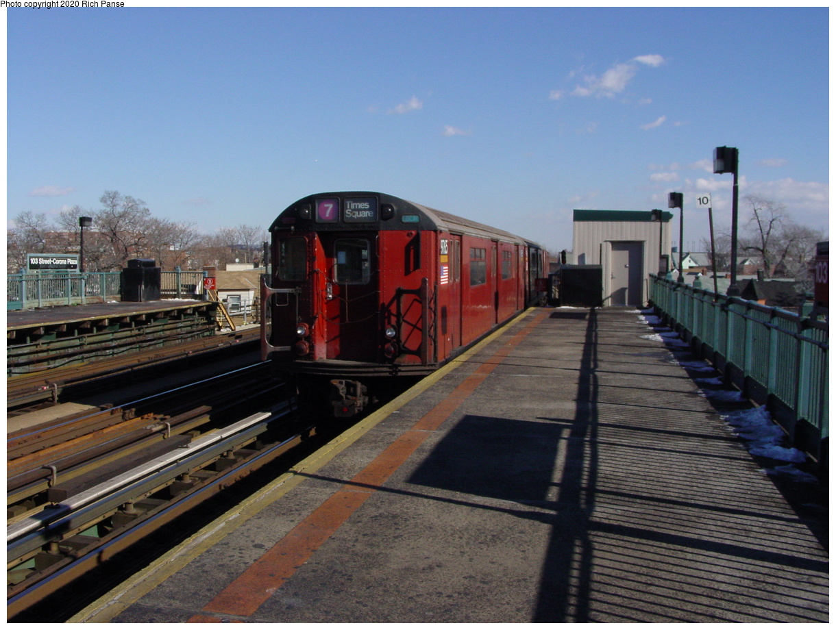(75k, 820x620)<br><b>Country:</b> United States<br><b>City:</b> New York<br><b>System:</b> New York City Transit<br><b>Line:</b> IRT Flushing Line<br><b>Location:</b> 103rd Street/Corona Plaza <br><b>Route:</b> 7<br><b>Car:</b> R-36 World's Fair (St. Louis, 1963-64) 9765 <br><b>Photo by:</b> Richard Panse<br><b>Date:</b> 1/20/2003<br><b>Viewed (this week/total):</b> 4 / 3003