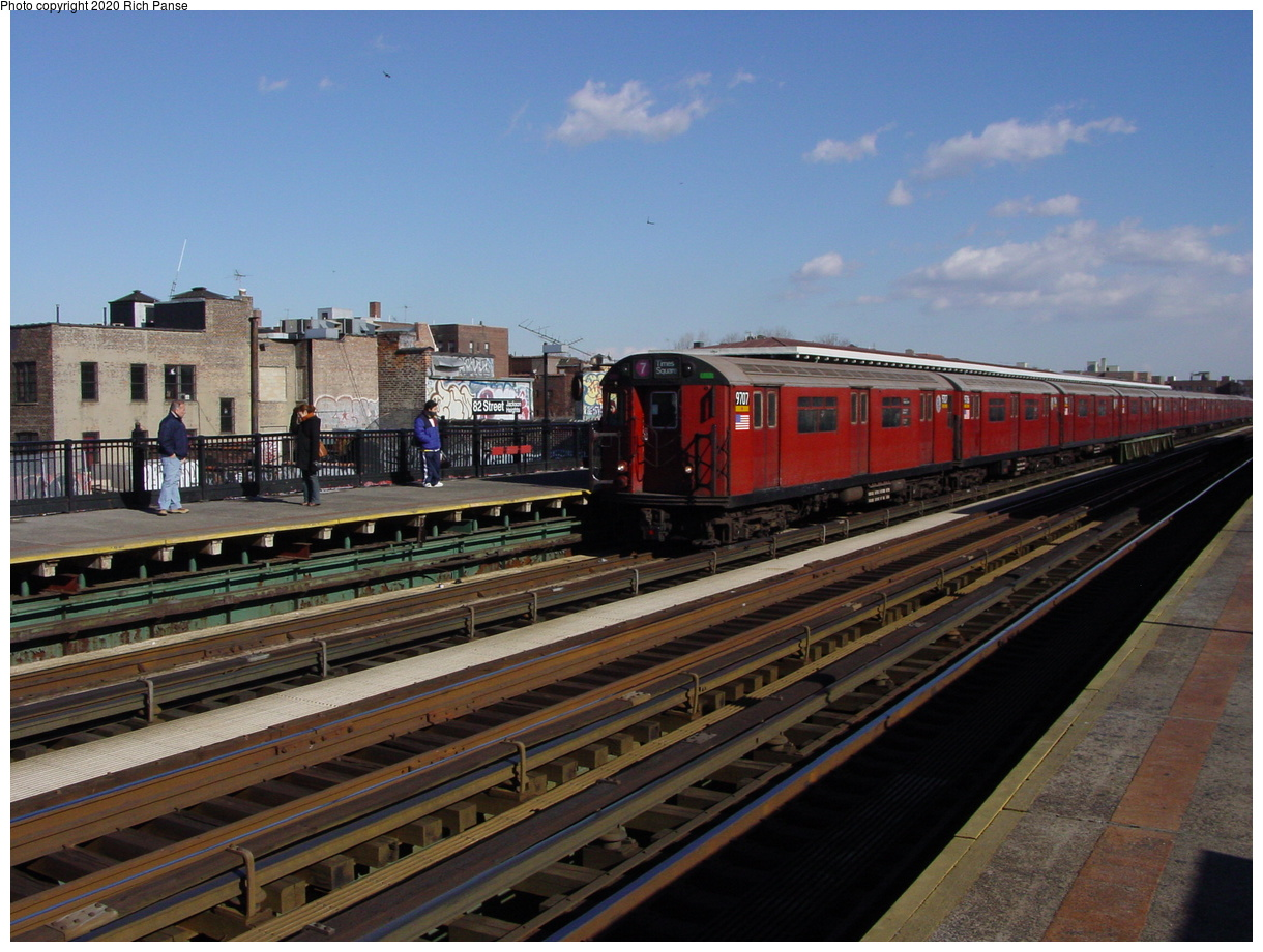 (80k, 820x620)<br><b>Country:</b> United States<br><b>City:</b> New York<br><b>System:</b> New York City Transit<br><b>Line:</b> IRT Flushing Line<br><b>Location:</b> 82nd Street/Jackson Heights <br><b>Route:</b> 7<br><b>Car:</b> R-36 World's Fair (St. Louis, 1963-64) 9707 <br><b>Photo by:</b> Richard Panse<br><b>Date:</b> 1/20/2003<br><b>Viewed (this week/total):</b> 0 / 2748
