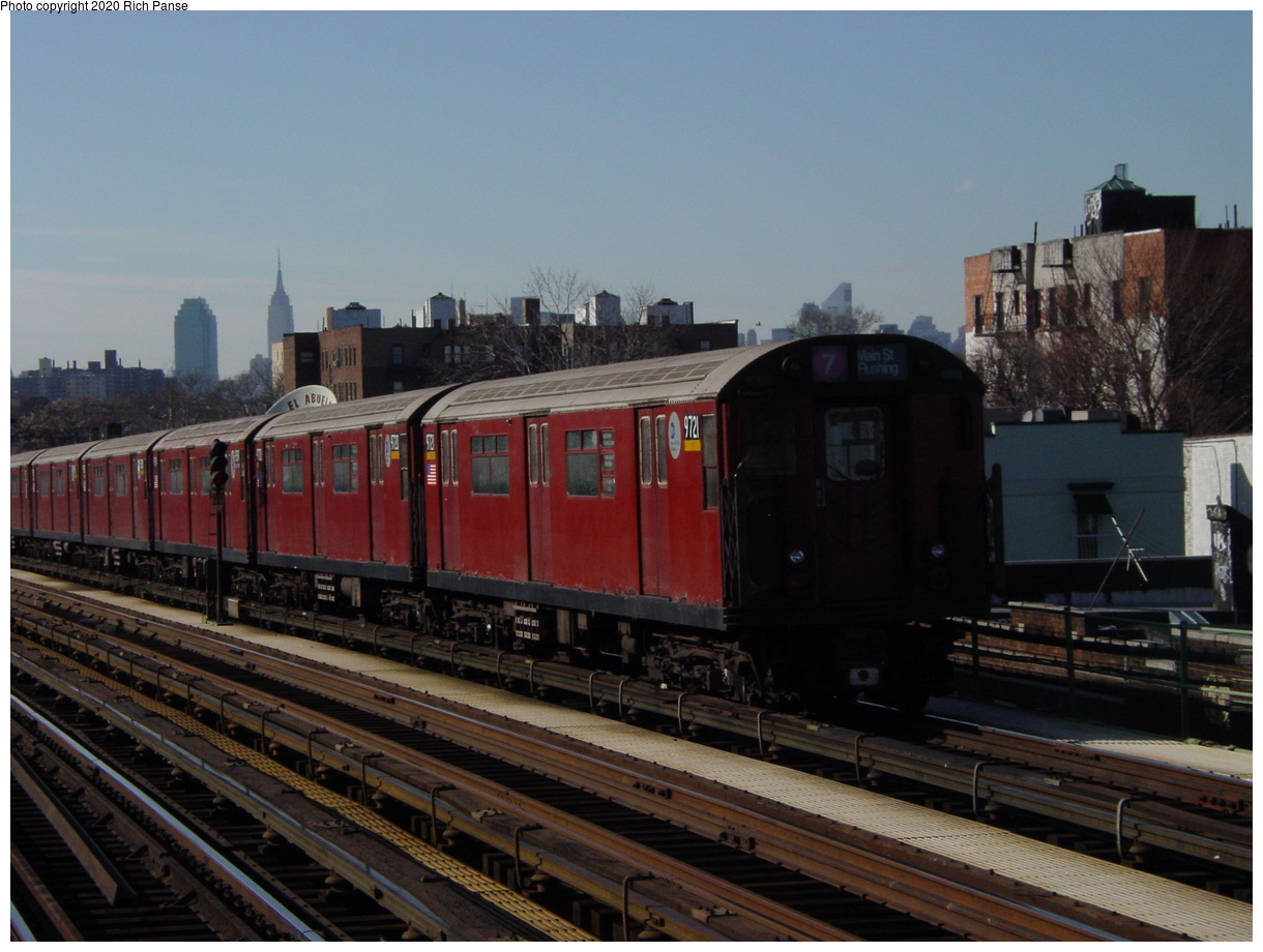 (69k, 820x620)<br><b>Country:</b> United States<br><b>City:</b> New York<br><b>System:</b> New York City Transit<br><b>Line:</b> IRT Flushing Line<br><b>Location:</b> 82nd Street/Jackson Heights <br><b>Route:</b> 7<br><b>Car:</b> R-36 World's Fair (St. Louis, 1963-64) 9721 <br><b>Photo by:</b> Richard Panse<br><b>Date:</b> 1/20/2003<br><b>Viewed (this week/total):</b> 1 / 1989