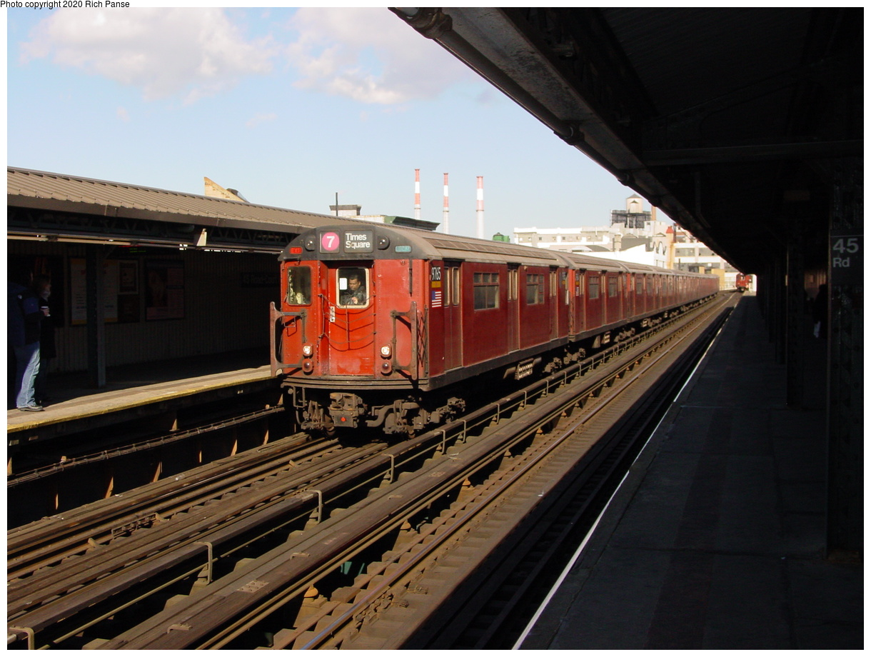 (73k, 820x620)<br><b>Country:</b> United States<br><b>City:</b> New York<br><b>System:</b> New York City Transit<br><b>Line:</b> IRT Flushing Line<br><b>Location:</b> Court House Square/45th Road <br><b>Route:</b> 7<br><b>Car:</b> R-36 World's Fair (St. Louis, 1963-64) 9765 <br><b>Photo by:</b> Richard Panse<br><b>Date:</b> 1/20/2003<br><b>Viewed (this week/total):</b> 2 / 2899