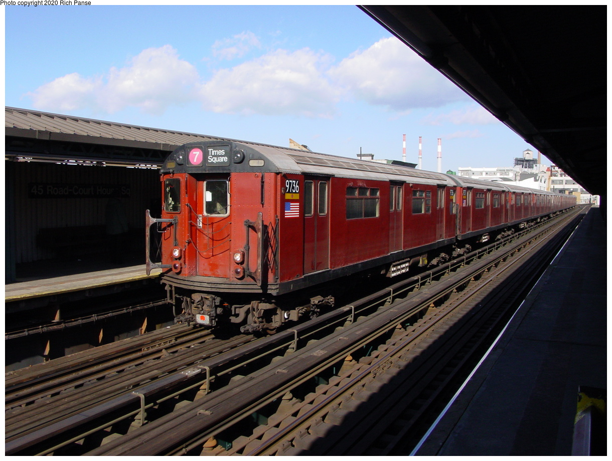 (77k, 820x620)<br><b>Country:</b> United States<br><b>City:</b> New York<br><b>System:</b> New York City Transit<br><b>Line:</b> IRT Flushing Line<br><b>Location:</b> Court House Square/45th Road <br><b>Route:</b> 7<br><b>Car:</b> R-36 World's Fair (St. Louis, 1963-64) 9736 <br><b>Photo by:</b> Richard Panse<br><b>Date:</b> 1/20/2003<br><b>Viewed (this week/total):</b> 2 / 3938