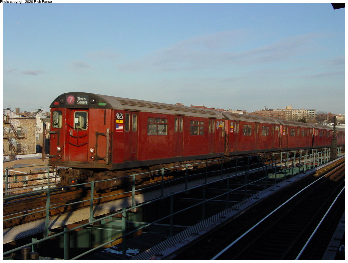 (63k, 820x620)<br><b>Country:</b> United States<br><b>City:</b> New York<br><b>System:</b> New York City Transit<br><b>Line:</b> IRT Flushing Line<br><b>Location:</b> 61st Street/Woodside <br><b>Route:</b> 7<br><b>Car:</b> R-36 World's Fair (St. Louis, 1963-64) 9685 <br><b>Photo by:</b> Richard Panse<br><b>Date:</b> 2/5/2003<br><b>Viewed (this week/total):</b> 0 / 2399