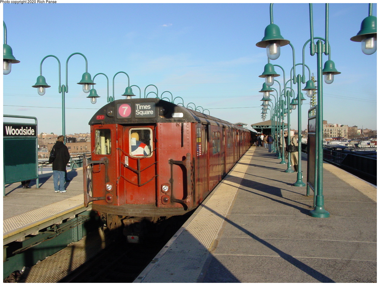 (83k, 820x620)<br><b>Country:</b> United States<br><b>City:</b> New York<br><b>System:</b> New York City Transit<br><b>Line:</b> IRT Flushing Line<br><b>Location:</b> 61st Street/Woodside <br><b>Route:</b> 7<br><b>Car:</b> R-36 World's Fair (St. Louis, 1963-64) 9736 <br><b>Photo by:</b> Richard Panse<br><b>Date:</b> 2/5/2003<br><b>Viewed (this week/total):</b> 3 / 2779