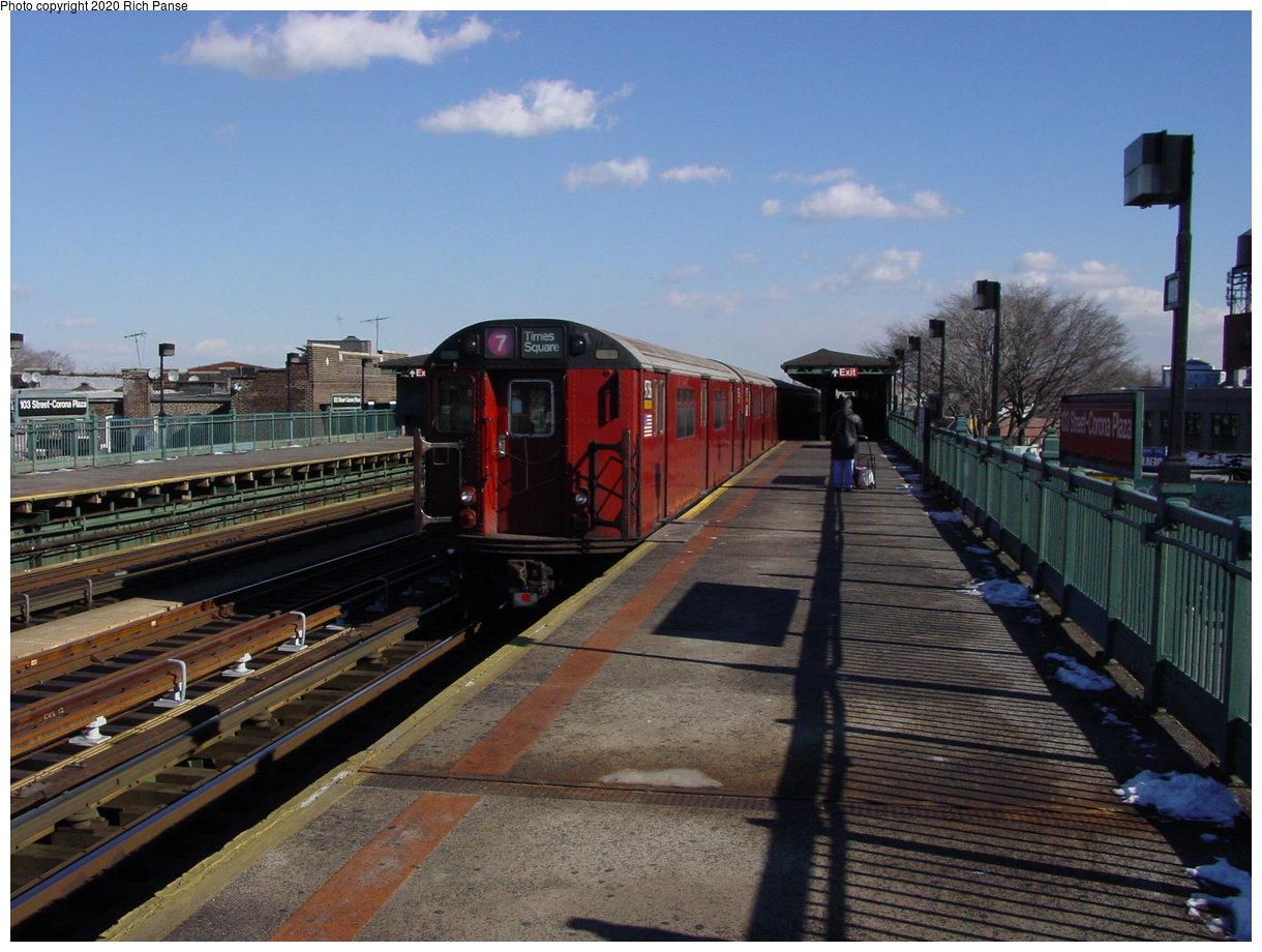 (80k, 820x620)<br><b>Country:</b> United States<br><b>City:</b> New York<br><b>System:</b> New York City Transit<br><b>Line:</b> IRT Flushing Line<br><b>Location:</b> 103rd Street/Corona Plaza <br><b>Route:</b> 7<br><b>Car:</b> R-36 World's Fair (St. Louis, 1963-64) 9753-9752 <br><b>Photo by:</b> Richard Panse<br><b>Date:</b> 1/20/2003<br><b>Viewed (this week/total):</b> 3 / 4380
