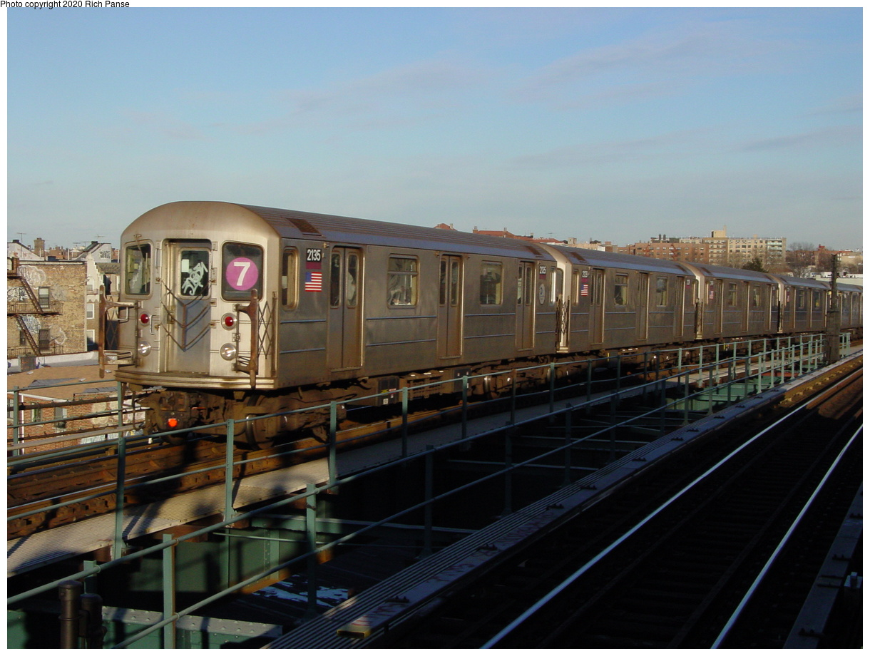 (68k, 820x620)<br><b>Country:</b> United States<br><b>City:</b> New York<br><b>System:</b> New York City Transit<br><b>Line:</b> IRT Flushing Line<br><b>Location:</b> 61st Street/Woodside <br><b>Route:</b> 7<br><b>Car:</b> R-62A (Bombardier, 1984-1987)  2135 <br><b>Photo by:</b> Richard Panse<br><b>Date:</b> 2/5/2003<br><b>Viewed (this week/total):</b> 0 / 2597