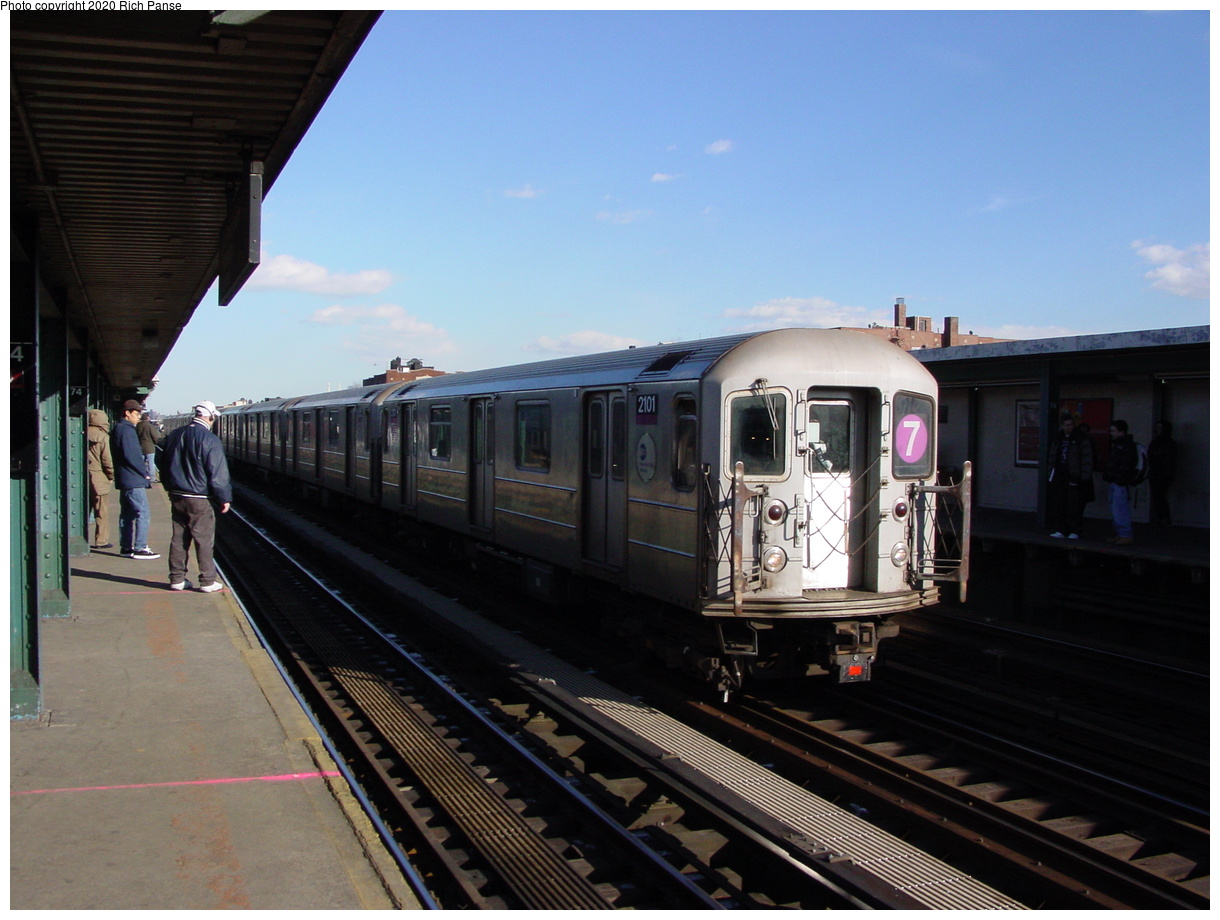 (67k, 820x620)<br><b>Country:</b> United States<br><b>City:</b> New York<br><b>System:</b> New York City Transit<br><b>Line:</b> IRT Flushing Line<br><b>Location:</b> 74th Street/Broadway <br><b>Route:</b> 7<br><b>Car:</b> R-62A (Bombardier, 1984-1987)  2101 <br><b>Photo by:</b> Richard Panse<br><b>Date:</b> 2/12/2003<br><b>Viewed (this week/total):</b> 2 / 2333