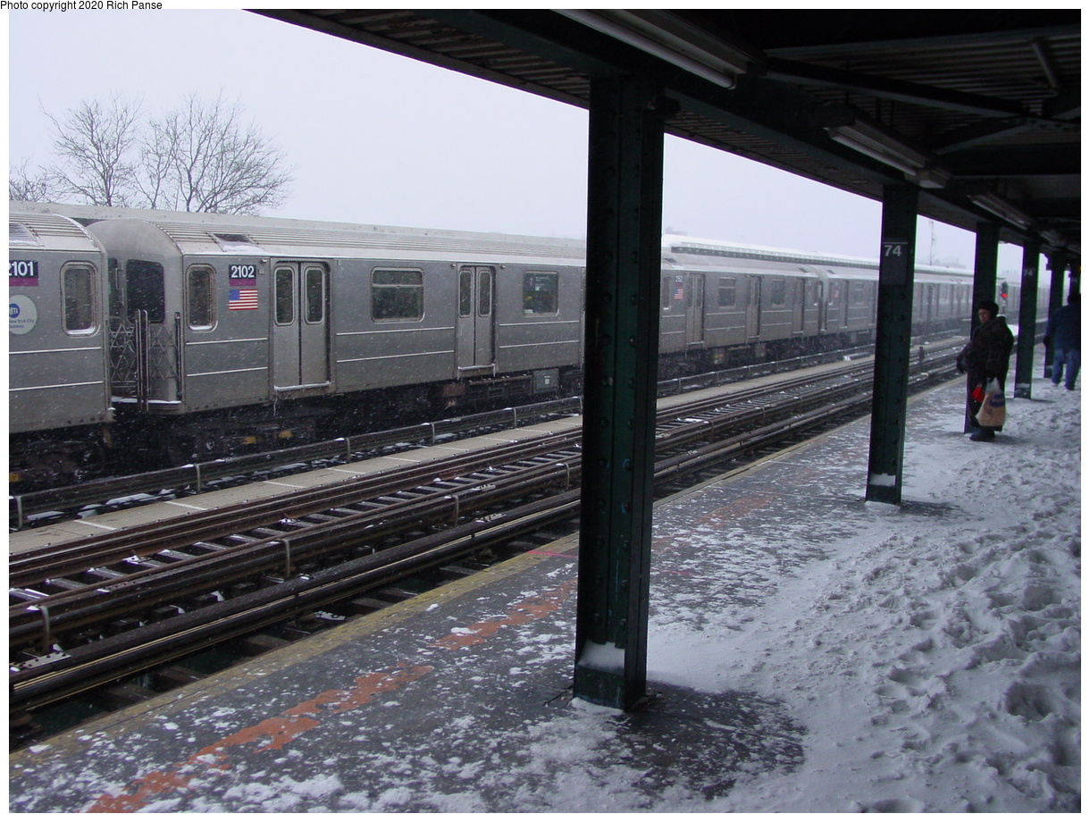 (91k, 820x620)<br><b>Country:</b> United States<br><b>City:</b> New York<br><b>System:</b> New York City Transit<br><b>Line:</b> IRT Flushing Line<br><b>Location:</b> 74th Street/Broadway <br><b>Route:</b> 7<br><b>Car:</b> R-62A (Bombardier, 1984-1987)  2102 <br><b>Photo by:</b> Richard Panse<br><b>Date:</b> 2/17/2003<br><b>Viewed (this week/total):</b> 2 / 3066