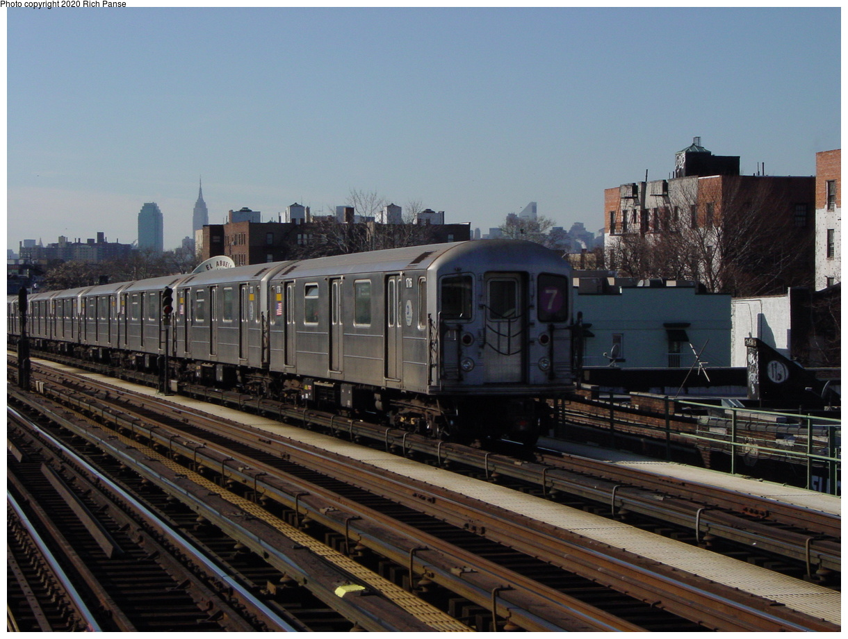 (77k, 820x620)<br><b>Country:</b> United States<br><b>City:</b> New York<br><b>System:</b> New York City Transit<br><b>Line:</b> IRT Flushing Line<br><b>Location:</b> 82nd Street/Jackson Heights <br><b>Route:</b> 7<br><b>Car:</b> R-62A (Bombardier, 1984-1987)  1716 <br><b>Photo by:</b> Richard Panse<br><b>Date:</b> 1/20/2003<br><b>Viewed (this week/total):</b> 0 / 2158