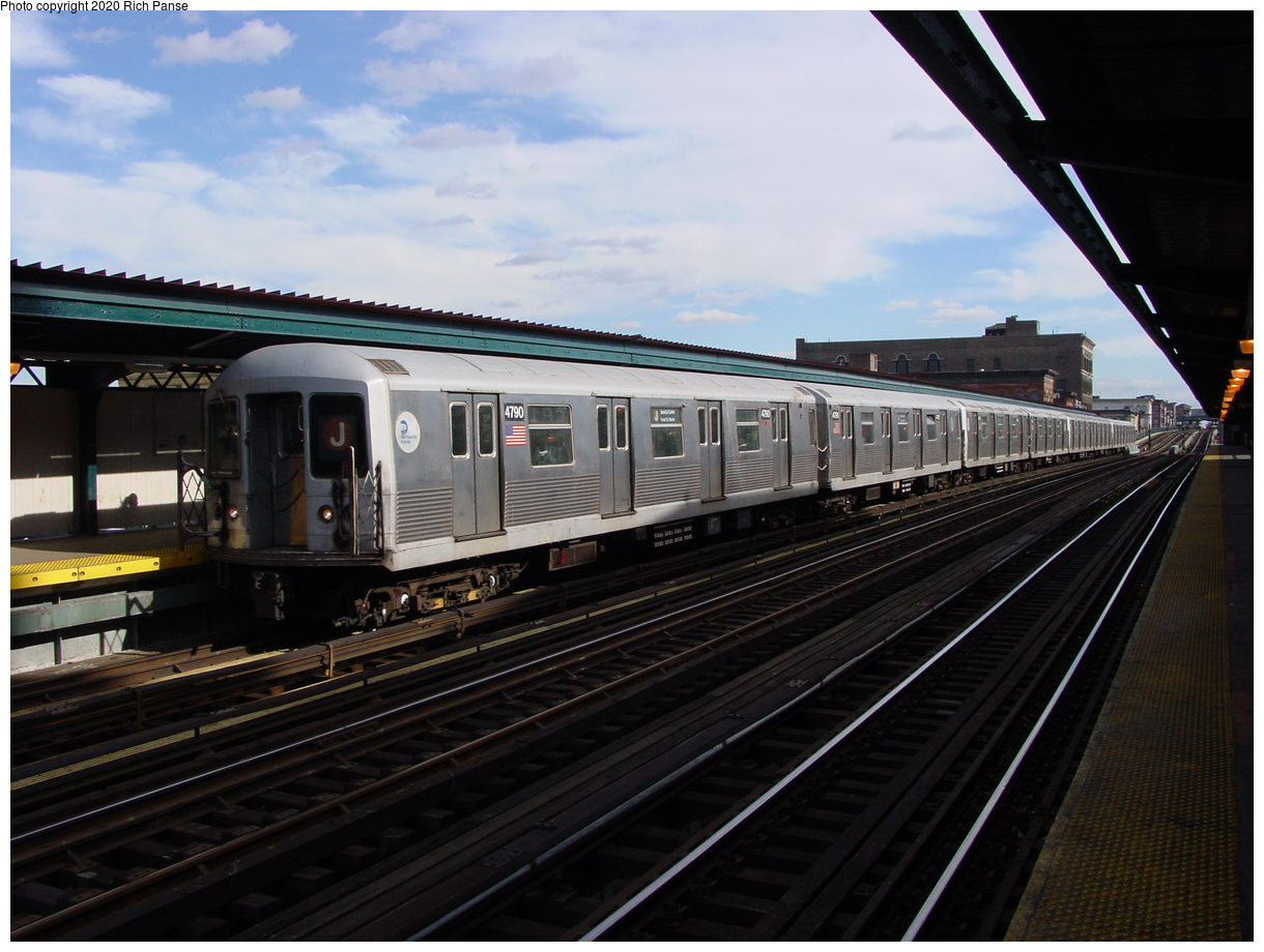 (74k, 820x620)<br><b>Country:</b> United States<br><b>City:</b> New York<br><b>System:</b> New York City Transit<br><b>Line:</b> BMT Nassau Street/Jamaica Line<br><b>Location:</b> Flushing Avenue <br><b>Route:</b> J<br><b>Car:</b> R-42 (St. Louis, 1969-1970)  4790 <br><b>Photo by:</b> Richard Panse<br><b>Date:</b> 2/5/2003<br><b>Viewed (this week/total):</b> 2 / 3256