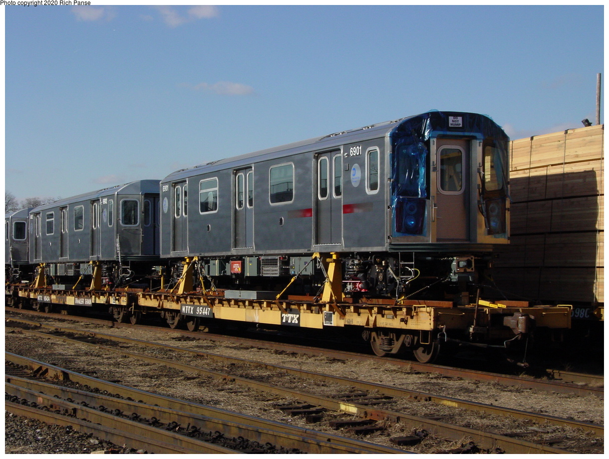 (81k, 820x620)<br><b>Country:</b> United States<br><b>City:</b> New York<br><b>System:</b> New York City Transit<br><b>Location:</b> LIRR/NY & Atlantic RR Fresh Pond Yard <br><b>Car:</b> R-142 (Primary Order, Bombardier, 1999-2002)  6901 <br><b>Photo by:</b> Richard Panse<br><b>Date:</b> 1/21/2003<br><b>Viewed (this week/total):</b> 3 / 6500
