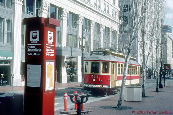 (169k, 720x477)<br><b>Country:</b> United States<br><b>City:</b> Portland, OR<br><b>System:</b> Portland Vintage Trolley<br><b>Line:</b> MAX Blue (East-West) Line<br><b>Location:</b> Pioneer Square North <br><b>Car:</b> PVT Council Crest (Gomaco Replica) 511 <br><b>Photo by:</b> Peter Ehrlich<br><b>Date:</b> 2/15/1992<br><b>Viewed (this week/total):</b> 5 / 2118