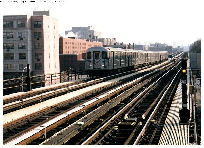 (97k, 800x581)<br><b>Country:</b> United States<br><b>City:</b> New York<br><b>System:</b> New York City Transit<br><b>Line:</b> IRT Woodlawn Line<br><b>Location:</b> 161st Street/River Avenue (Yankee Stadium) <br><b>Route:</b> 4<br><b>Car:</b> R-62 (Kawasaki, 1983-1985)  1311 <br><b>Photo by:</b> Gary Chatterton<br><b>Date:</b> 4/2/2003<br><b>Viewed (this week/total):</b> 0 / 4572