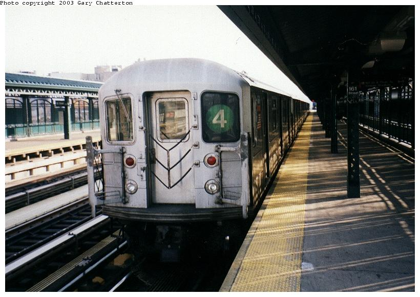 (80k, 820x581)<br><b>Country:</b> United States<br><b>City:</b> New York<br><b>System:</b> New York City Transit<br><b>Line:</b> IRT Woodlawn Line<br><b>Location:</b> 167th Street <br><b>Route:</b> 4<br><b>Car:</b> R-62 (Kawasaki, 1983-1985)  1331 <br><b>Photo by:</b> Gary Chatterton<br><b>Date:</b> 4/2/2003<br><b>Viewed (this week/total):</b> 3 / 4997