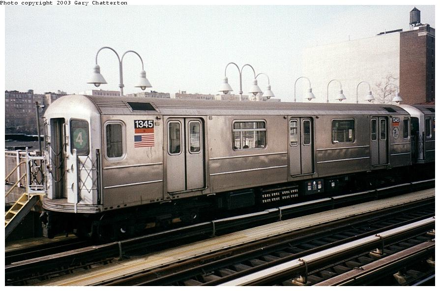 (94k, 895x591)<br><b>Country:</b> United States<br><b>City:</b> New York<br><b>System:</b> New York City Transit<br><b>Line:</b> IRT Woodlawn Line<br><b>Location:</b> 170th Street <br><b>Route:</b> 4<br><b>Car:</b> R-62 (Kawasaki, 1983-1985)  1345 <br><b>Photo by:</b> Gary Chatterton<br><b>Date:</b> 4/2/2003<br><b>Viewed (this week/total):</b> 0 / 3802