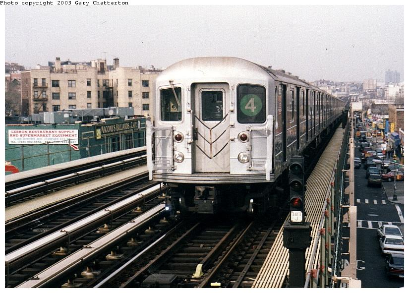 (103k, 825x591)<br><b>Country:</b> United States<br><b>City:</b> New York<br><b>System:</b> New York City Transit<br><b>Line:</b> IRT Woodlawn Line<br><b>Location:</b> 170th Street <br><b>Route:</b> 4<br><b>Car:</b> R-62 (Kawasaki, 1983-1985)  1355 <br><b>Photo by:</b> Gary Chatterton<br><b>Date:</b> 4/2/2003<br><b>Viewed (this week/total):</b> 3 / 4474