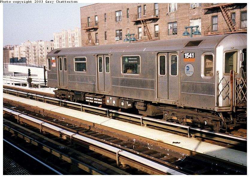 (115k, 835x596)<br><b>Country:</b> United States<br><b>City:</b> New York<br><b>System:</b> New York City Transit<br><b>Line:</b> IRT Woodlawn Line<br><b>Location:</b> 161st Street/River Avenue (Yankee Stadium) <br><b>Route:</b> 4<br><b>Car:</b> R-62 (Kawasaki, 1983-1985)  1541 <br><b>Photo by:</b> Gary Chatterton<br><b>Date:</b> 4/2/2003<br><b>Viewed (this week/total):</b> 0 / 3764